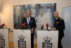 GEMENSAM PRESSKONFERENS ANGÅENDE DNISH-SÄKERHET Fotografering för Bildbyråer