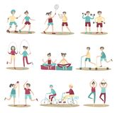 Gemensamma sportaktiviteter, ungdomarsom har gyckel tillsammans Aktiv livsstil, sportunderh?llning utomhus Upps?ttningen av poser royaltyfri illustrationer