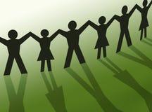gemenskapillustrationfolket silhouette teamwork stock illustrationer