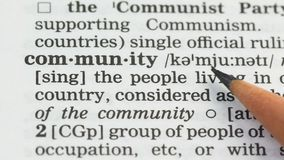 Gemenskapordbetydelse i ordboken, folksamhälle i land, socialt massmedia lager videofilmer