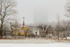 Gemenskapträdgård i vinter Arkivbilder
