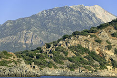 Gemiler Island with church of St. Nicholas, Turkey Royalty Free Stock Photos