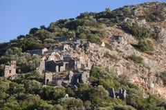 Gemiler Island with church of St. Nicholas, Turkey Stock Images