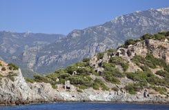 Gemiler Island With Church Of St. Nicholas, Turkey Royalty Free Stock Image