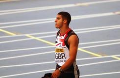 英国的亚当Gemili赢取他的人的100 m。 免版税图库摄影