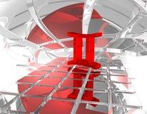 Gemini. Symbol in futuristic space - 3d illustration Stock Image