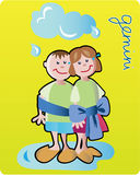 Gemini. Collection of 12 children horoscopes and characters Royalty Free Stock Photography