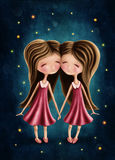 Gemini astrological sign girls Stock Photos