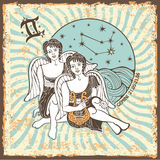 Gemini boys zodiac sign.Vintage Horoscope card Stock Images