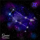 Gemini Constellation With Triangular Background Photos stock