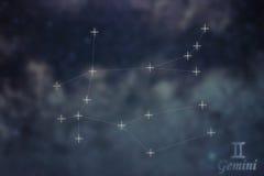 Gemini Constellation. Zodiac Sign Gemini constellation lines Gal. Gemini Constellation. Zodiac Sign Gemini constellation lines  Galaxy background Zodiac Sign Stock Images