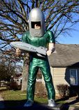 Gemini Giant. This is a Winter picture of a giant astronaut holding a rocket located in Wilmington, Illinois in Will Coumty. This 30 foot tall fiberglass man Stock Images