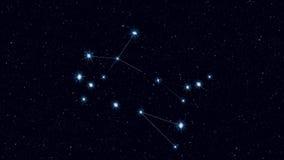 Gemini gwiazdozbiór, stopniowo zbliżający płodozmiennego wizerunek z gwiazdami i konturami ilustracji