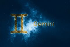 Gemini Horoscope Sign. Abstract night sky background. Horoscope Symbol and Text stock illustration