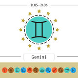 Gemini. Signs of zodiac, flat linear icons for horoscope, predictions Royalty Free Stock Photo