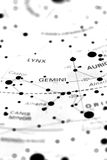 Gemini on star map B Royalty Free Stock Image