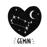 Gemini Symbol Hand Getrokken Dierenriem Vectorillustratie Kinder Grafisch Zwart hart Stock Fotografie