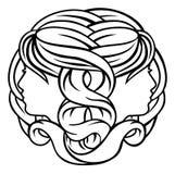 Gemini Twins Astrology Horoscope Zodiac-Teken Royalty-vrije Stock Afbeeldingen