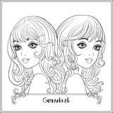 Gemini,  twins. A young beautiful girls. Gemini,  twins. A young beautiful girls In the form of one of the signs of the zodiac.  Outline hand drawing coloring Royalty Free Stock Images