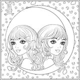 Gemini,  twins. A young beautiful girls In the form. Gemini,  twins. A young beautiful girls In the form of one of the signs of the zodiac.  Outline hand Stock Photos