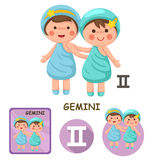 Gemini vector collection. zodiac signs. Illustration of isolated gemini vector collection. zodiac signs Royalty Free Stock Images