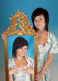Gemini woman. Gemini or Twins, this photo is part of a series of twelve Zodiac signs of astrology royalty free stock image