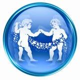 Gemini zodiac button icon Royalty Free Stock Photo