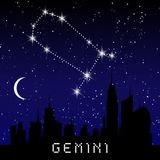 Gemini zodiac constellations sign on beautiful starry sky with galaxy and space behind. Gemini horoscope symbol constellation on d Stock Photography