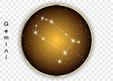 Gemini zodiac constellations sign on beautiful starry sky with galaxy and space behind. Gemini horoscope symbol constellation on d. Eep cosmos background. Vector Royalty Free Stock Photo