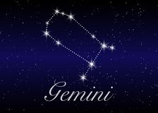 Gemini zodiac constellations sign on beautiful starry sky with galaxy and space behind. Gemini horoscope symbol constellation. On deep cosmos background Royalty Free Stock Image