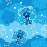 Gemini - Zodiac seamless pattern. Vector seamless pattern with Gemini astrology symbols stock illustration