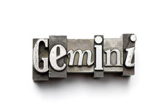 Gemini Zodiac Sign. Sign of the Zodiac using vintage letterpress type with narrow depth of field. Part of an annual/calendar series royalty free stock photo