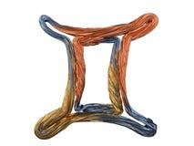 Gemini Zodiac Sign. Abstract metal symbol. 3D. Rendering Stock Photos