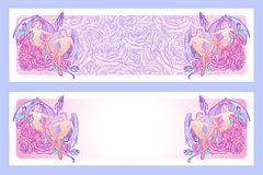 Gemini Zodiac sign with a decorative frame of roses. Horizontal banners Stock Photo