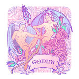 Gemini Zodiac sign with a decorative frame of roses. Sketch floral pattern Royalty Free Stock Photography