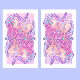 Gemini Zodiac sign with a decorative frame of roses. Vertical banners Stock Photography