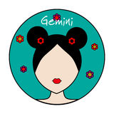 Gemini zodiac sign. Female avatar Stock Photos