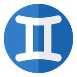 Gemini Zodiac Sign Flat Icon azul en blanco Fotos de archivo libres de regalías