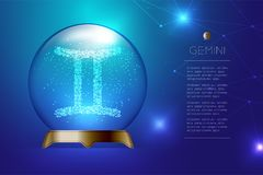 Gemini Zodiac sign in Magic glass ball, Fortune teller concept d. Esign illustration on blue gradient background with copy space, vector eps 10 Royalty Free Stock Photography