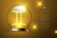 Gemini Zodiac sign in Magic glass ball, Fortune teller concept design illustration. On gold gradient background with copy space, vector eps 10 Stock Image
