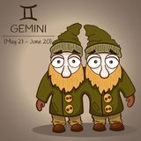 Gemini zodiac sign with male twins in vector EPS10. Gemini zodiac sign with male twins cartoon vintage characters in green coats with beards in vector EPS10 Royalty Free Stock Image