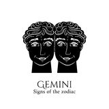 Gemini zodiac. Signs of the zodiac. Gemini hand draw. Black silhouette and white details. Vector illustration isolated on a white background Royalty Free Stock Photos
