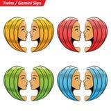 Gemini Zodiac Star Signs Sketch coloré illustration stock