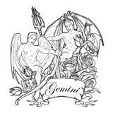 Gemini Zodiac-Zeichen mit einem dekorativen Rahmen von Rosen Skizze lokalisiert auf weißem Hintergrund Lizenzfreie Stockfotografie