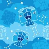 Gemini - zodiaka bezszwowy wzór Obrazy Royalty Free