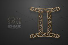 Gemini zodiaka znaka wireframe wieloboka złota ramowa struktura, pomyślność narratora pojęcia projekta ilustracja royalty ilustracja