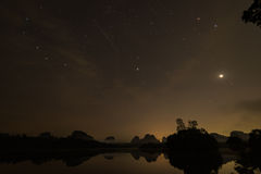 Geminids Meteors Shower before sunrise at Krabi Thailand Royalty Free Stock Image