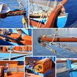Gemischt von den Details eines alten Segelboots Stockbilder