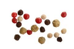 Gemischt von den Pfeffern heiß, rot, schwarz, vom Weiß und von grünem Paprika lokalisiert auf weißem Hintergrund Beschneidungspfa lizenzfreie stockfotos