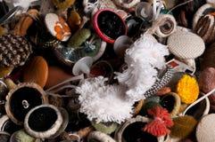 gemischte alte benutzte Textilknöpfe Stockfotografie